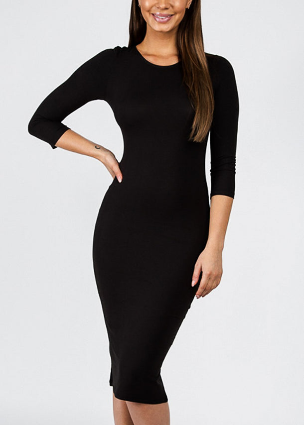 Black Quater Sleeve Bodycon Midi Dress
