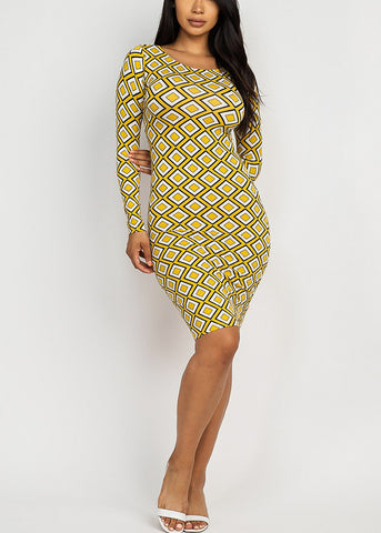 Image of Printed Chic Mustard Dress