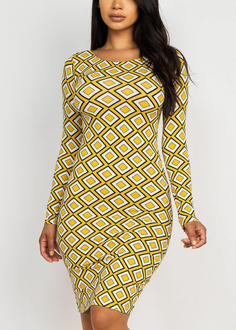 Printed Chic Mustard Dress