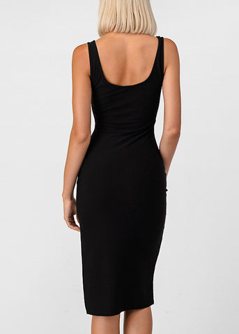 Image of Side Slit Black Bodycon Midi Dress