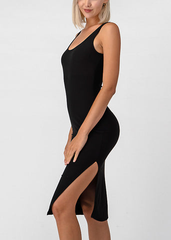 Side Slit Black Bodycon Midi Dress