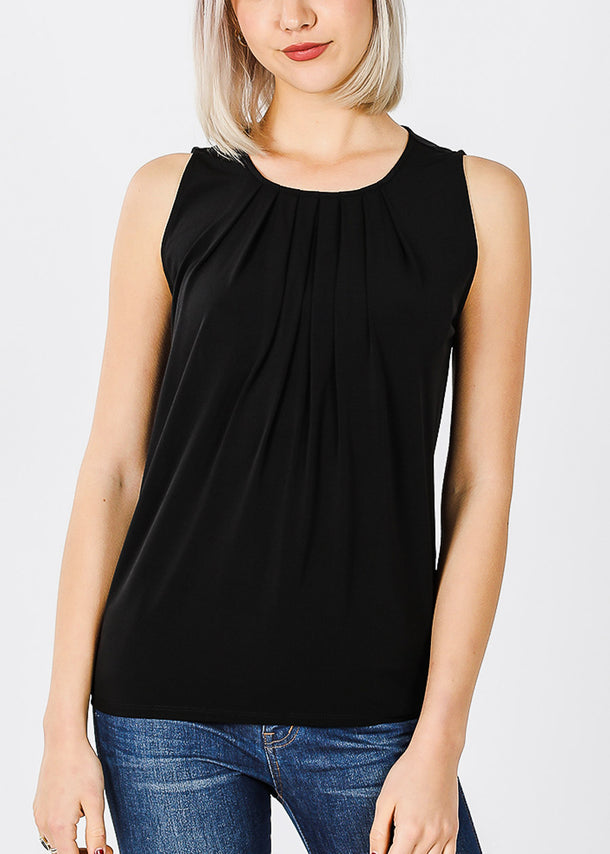 Sleeveless Black Pleat Casual Top