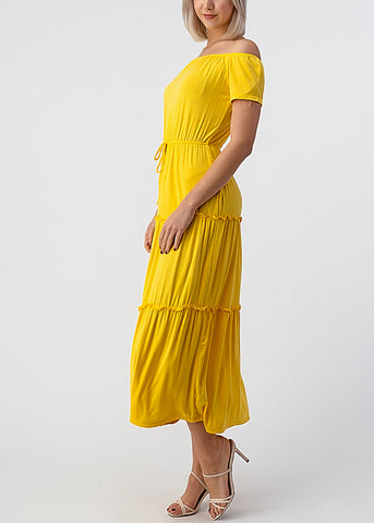 Yellow Off Shoulder Maxi Dress