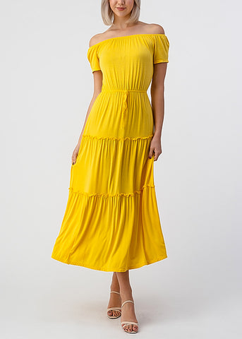 Image of Yellow Off Shoulder Maxi Dress