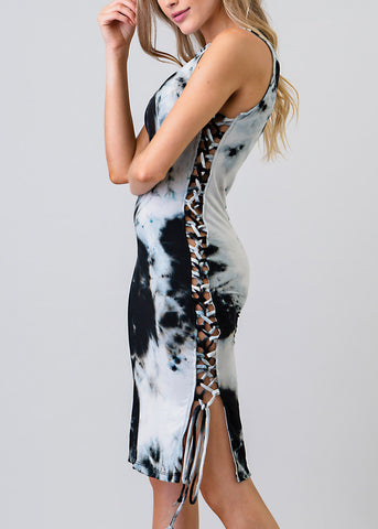 Image of Tie Dye Lace Up Sides Bodycon Dress