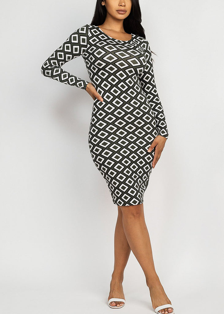 Printed Chic Olive Dress