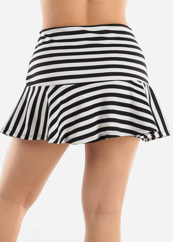 Image of Black & White Stripe Mini Skirt