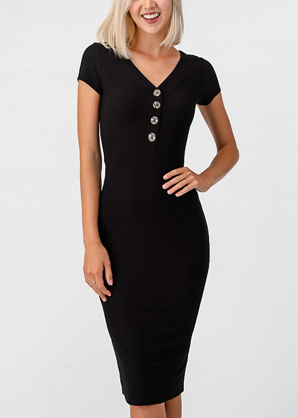 Half Button Up Black Bodycon Dress