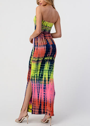 Image of Purple Tie Dye Strapless Maxi Dress