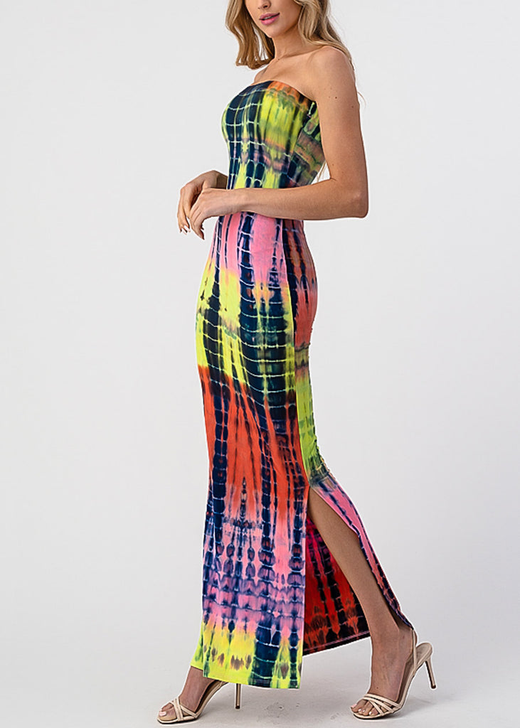 Purple Tie Dye Strapless Maxi Dress