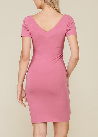 Image of Stripe V Neckline Pink Bodycon Dress