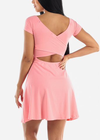 Image of Pink Fit & Flare Mini Dress