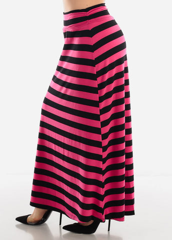 Image of Pink & Black Stripe Maxi Skirt
