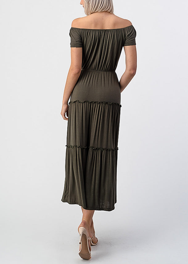 Olive Off Shoulder Maxi Dress