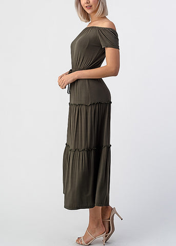 Image of Olive Off Shoulder Maxi Dress