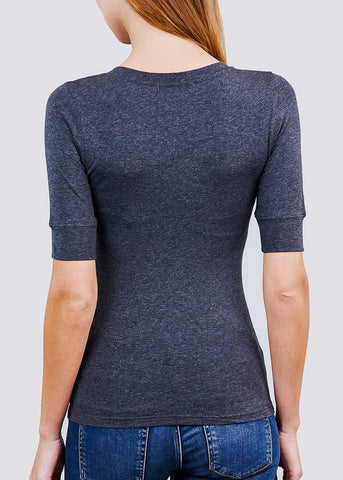 Charcoal Elbow Sleeve V-Neck Top