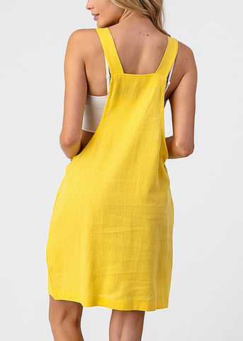 Image of Sleeveless Yellow Overall Dress