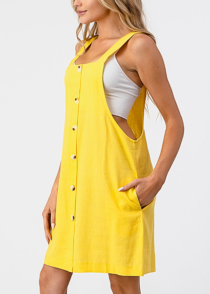 Sleeveless Yellow Overall Dress