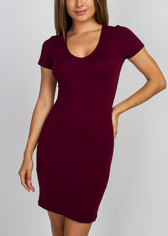 Short Sleeve Burgundy Dress