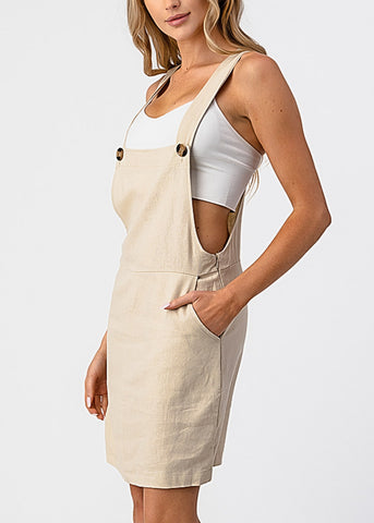 Sleeveless Natural Overall Mini Dress