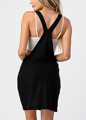 Sleeveless Black Overall Mini Dress
