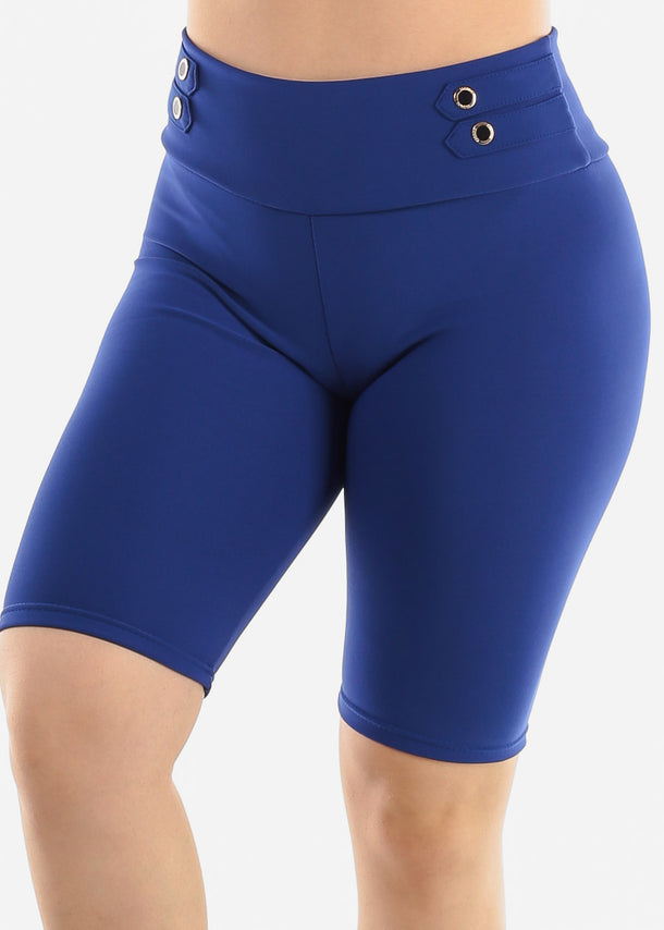 Royal Blue Button Detail Shorts