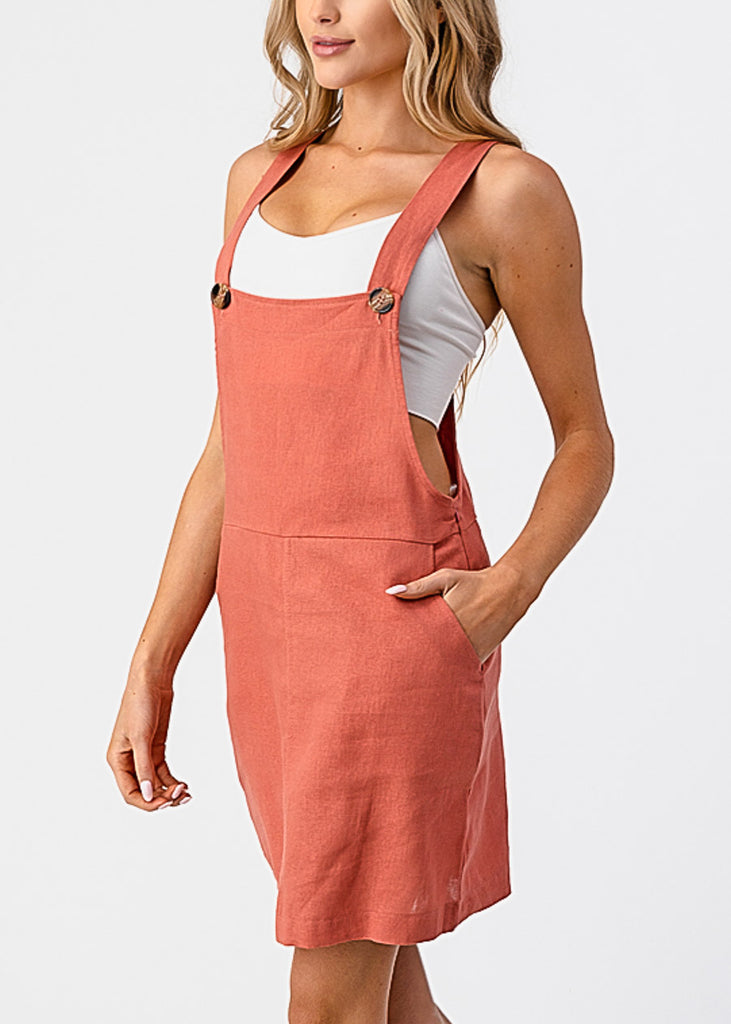 Sleeveless Rose Overall Mini Dress