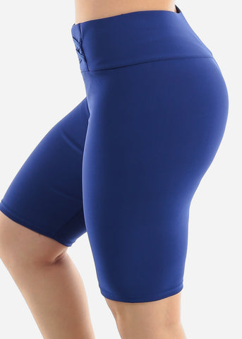 Image of Royal Blue Criss Cross Detail Shorts