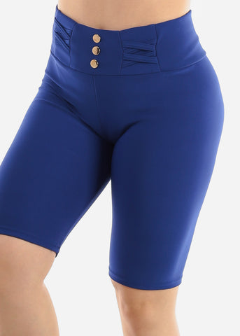 Royal Blue Criss Cross Detail Shorts