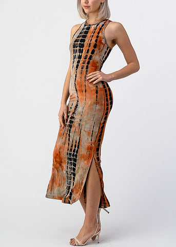 Image of Orange Tie Dye Sleeveless Maxi Dress
