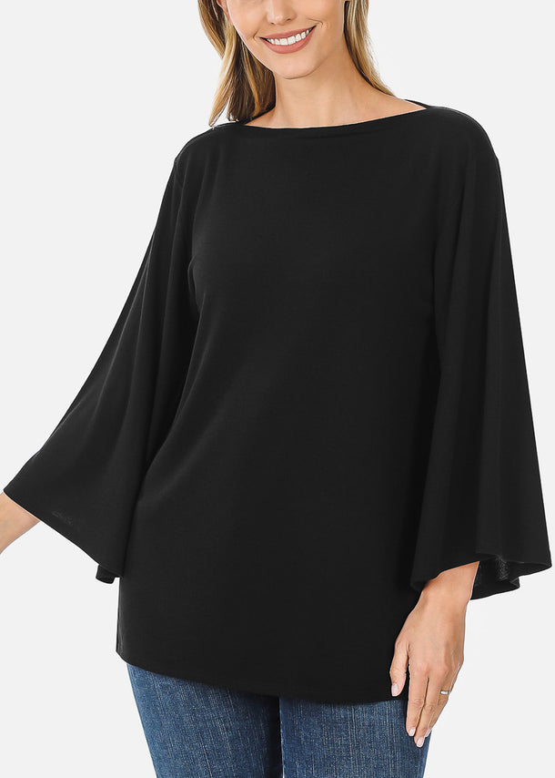 Black Bell Sleeve Tunic Top