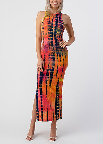 Image of Fuchsia Tie Dye Sleeveless Maxi Dress