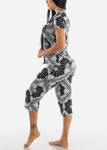 Image of Black and White Button Up PJ Capris Set