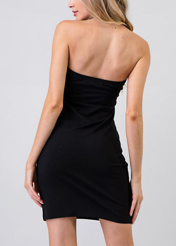 Image of Sexy Strapless Black Bodycon Dress