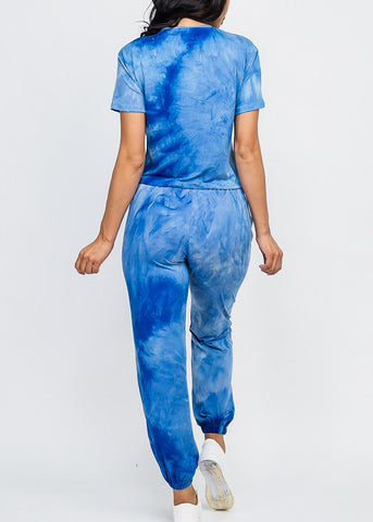 Tie Dye Blue Top & Joggers (2 PCE SET)