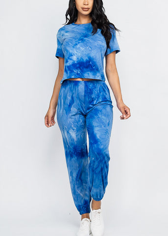 Image of Tie Dye Blue Top & Joggers (2 PCE SET)
