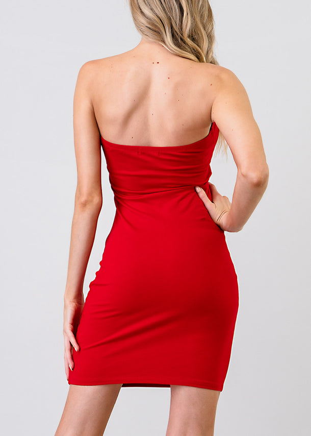 Sexy Strapless Red Bodycon Dress