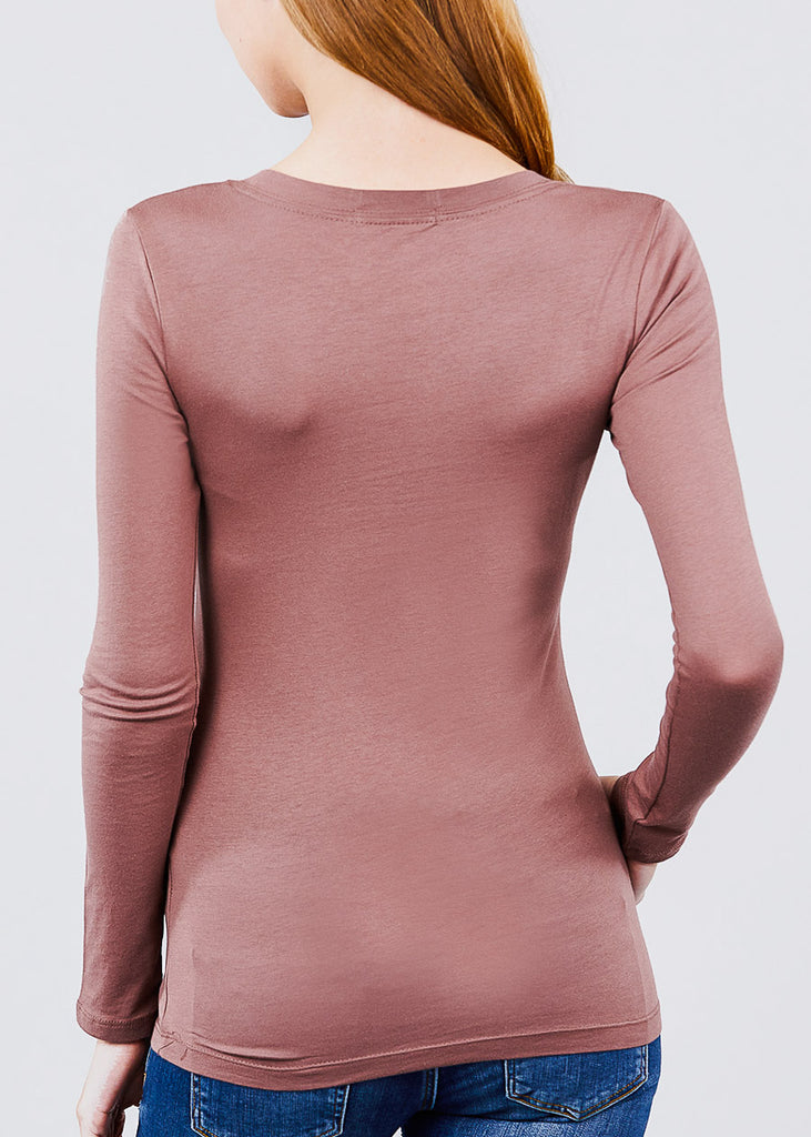 Scoop Neck Long Sleeve Basic Top (Rose)