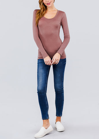 Image of Scoop Neck Long Sleeve Basic Top (Rose)