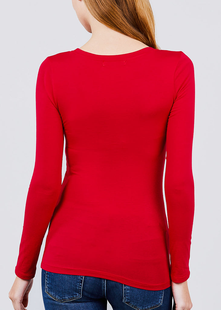 Scoop Neck Long Sleeve Basic Top (Red)