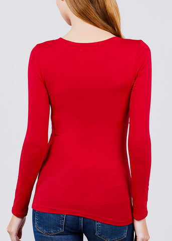 Image of Scoop Neck Long Sleeve Basic Top (Red)
