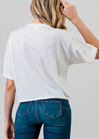 Short Sleeve White Flowy Top