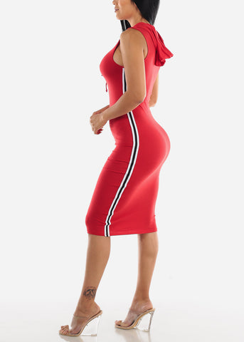 Stripe Sides Red Bodycon Dress