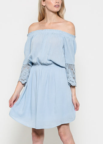 3/4 Lace Sleeve Light Blue Woven Dress
