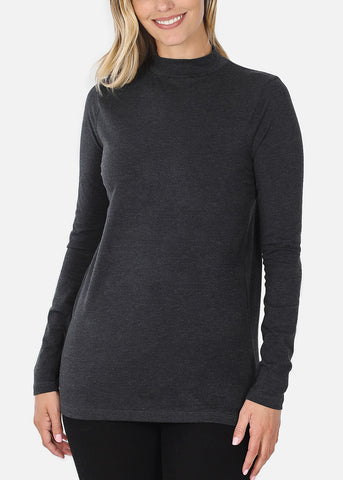 Cotton Mock Neck Charcoal Top