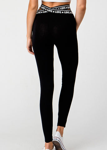 Image of Activewear Crossover Waist Black Leggings