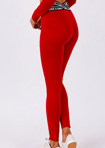 Activewear Crossover Waist Red Leggings