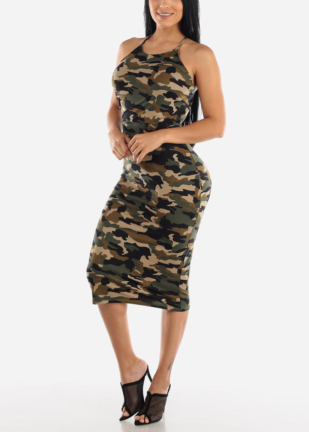 Halter Camouflage Bodycon Dress
