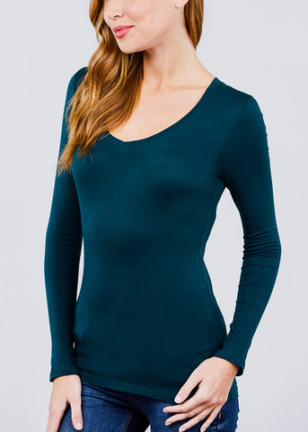 V-Neck Long Sleeve Basic Top (Teal)