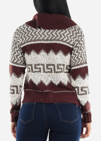 Image of Cozy Warm Zip Up Knit Sweater